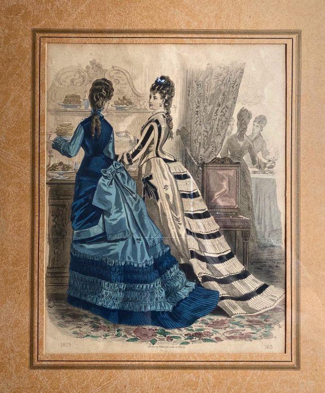 Старинная литография Франция 1875 год