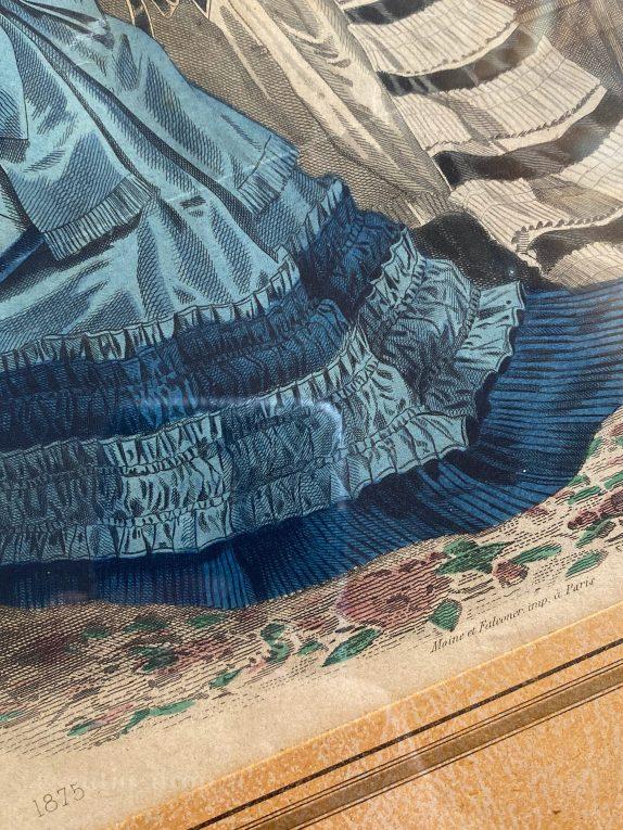 Старинная литография Франция 1875 год Вид 1