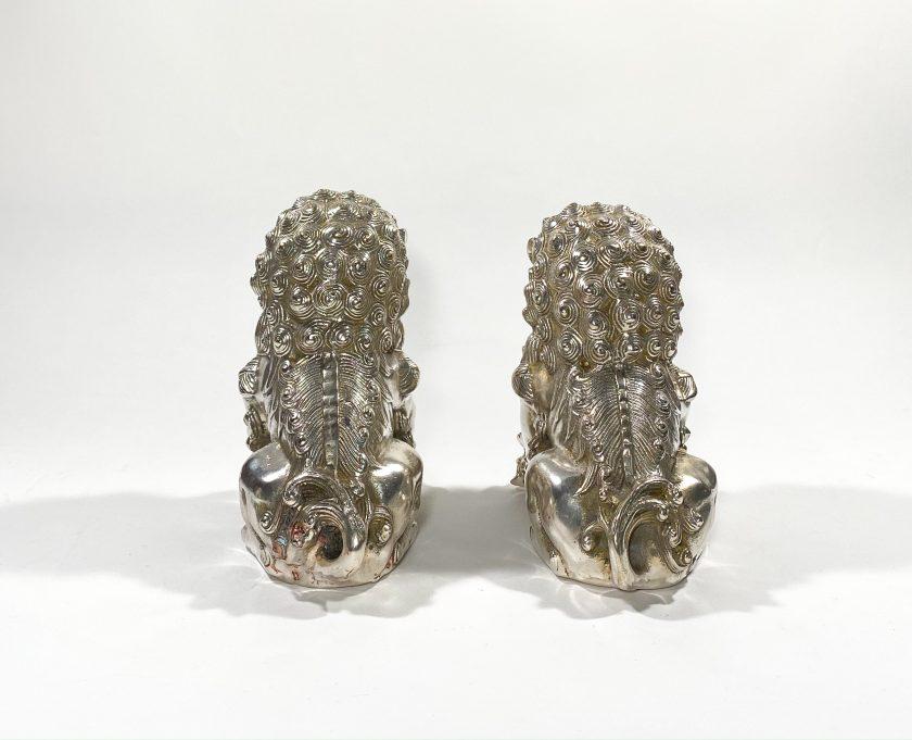 Пара посеребренных статуэток Собаки Фоо Вид 2