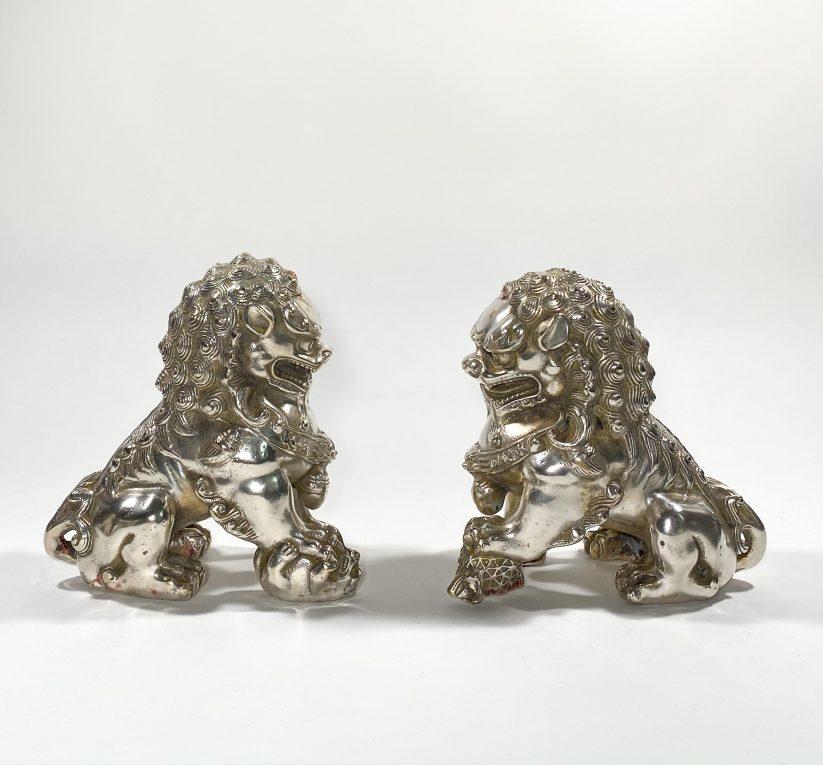 Пара посеребренных статуэток Собаки Фоо Вид 1