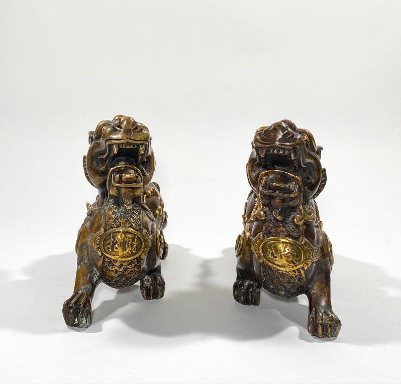 Пара статуэток Собаки Фоо бронза Вид 1