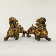 Пара статуэток Собаки Фоо бронза