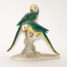 Фарфоровая статуэтка Попугаи на ветке