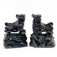 Пара статуэток Собаки Фоо черный нефрит