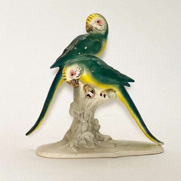 Фарфоровая статуэтка Попугаи на ветке Вид 3
