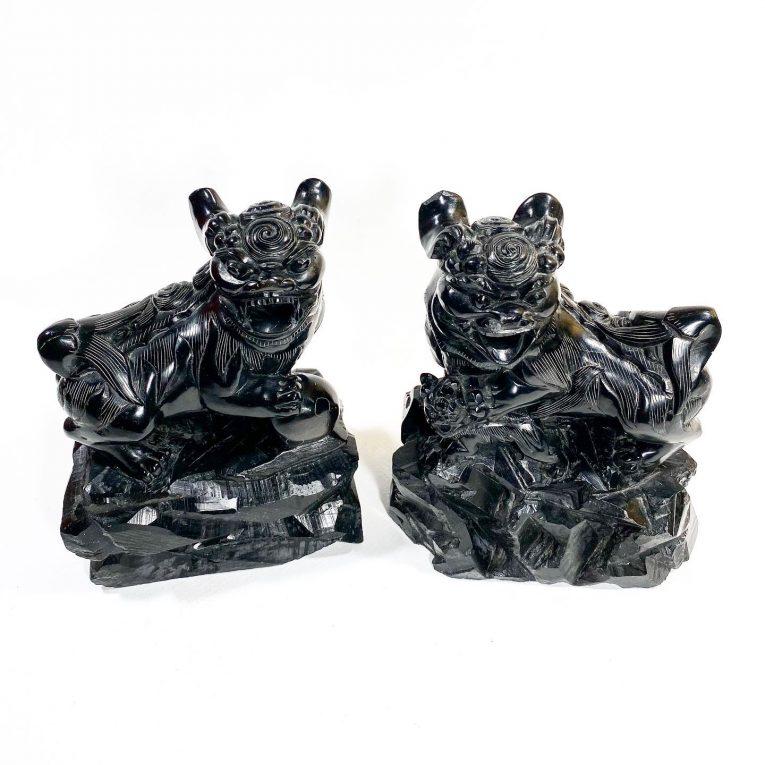 Пара статуэток Собаки Фоо черный нефрит Вид 3