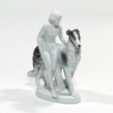 Фарфоровая статуэтка Девушка с борзой