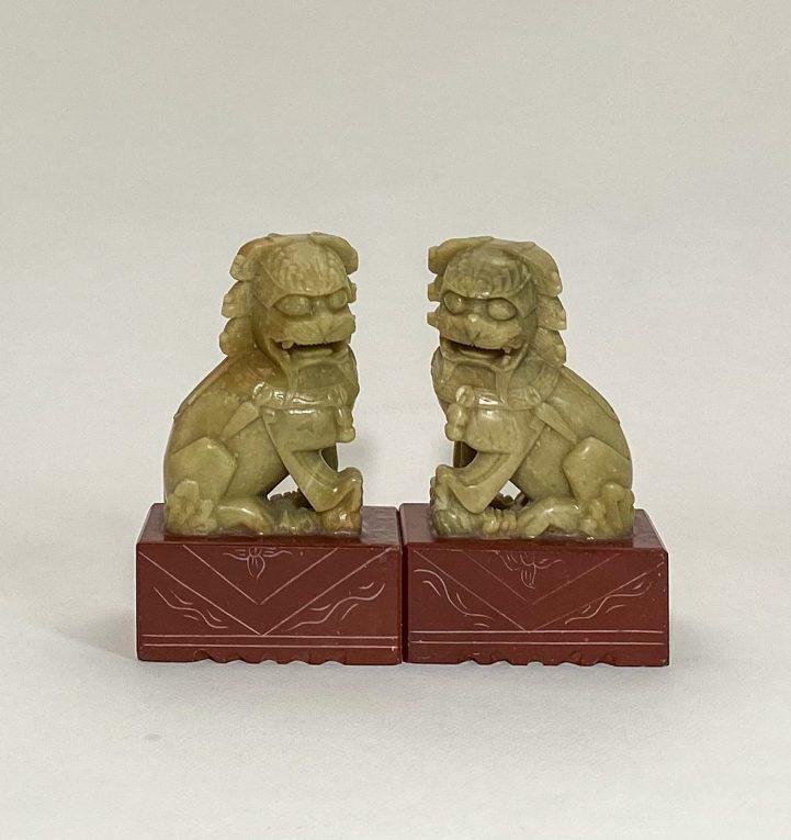 Пара статуэток Собаки Фоо мыльный камень Вид 1