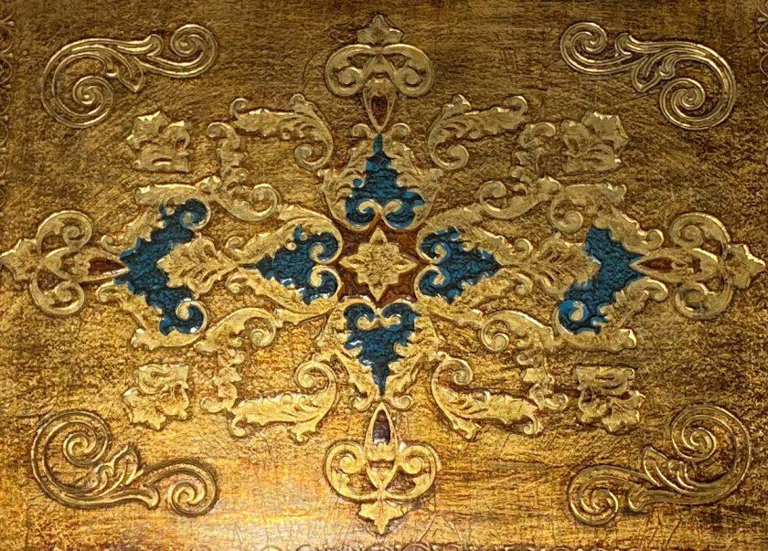 Флорентийский поднос Голубой и золото Вид 1