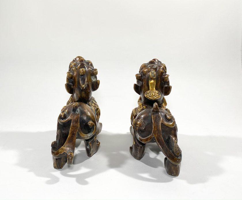 Пара статуэток Собаки Фоо бронза Вид 2