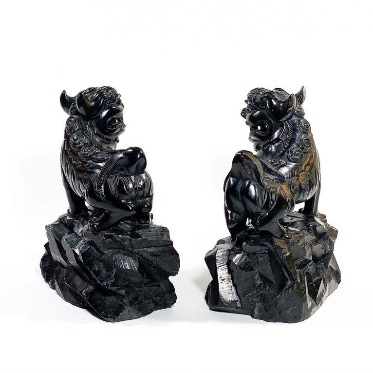 Пара статуэток Собаки Фоо черный нефрит Вид 2