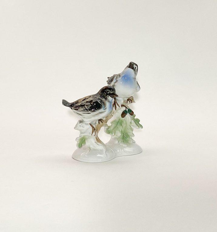 Фарфоровая статуэтка Птицы на ветке дуба Вид 3