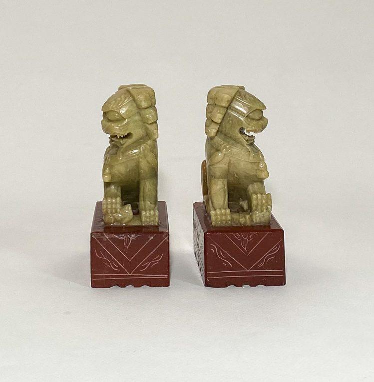 Пара статуэток Собаки Фоо мыльный камень Вид 3