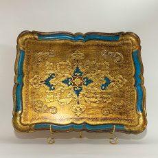 Флорентийский поднос Голубой и золото