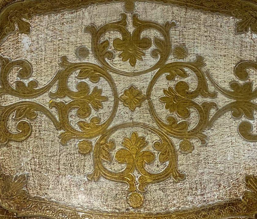 Флорентийский поднос Белый и Золото Вид 2