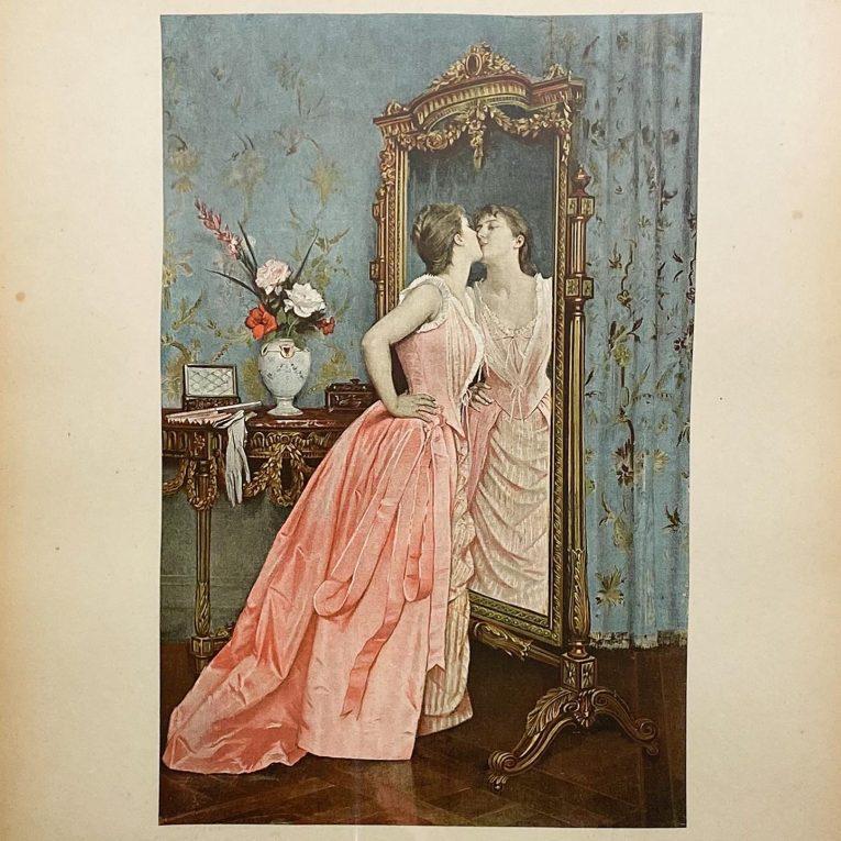 Цветная литография Перед зеркалом Франция Вид 1