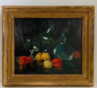 Натюрморт с овощами и стеклянной посудой