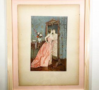 Цветная литография Перед зеркалом Франция