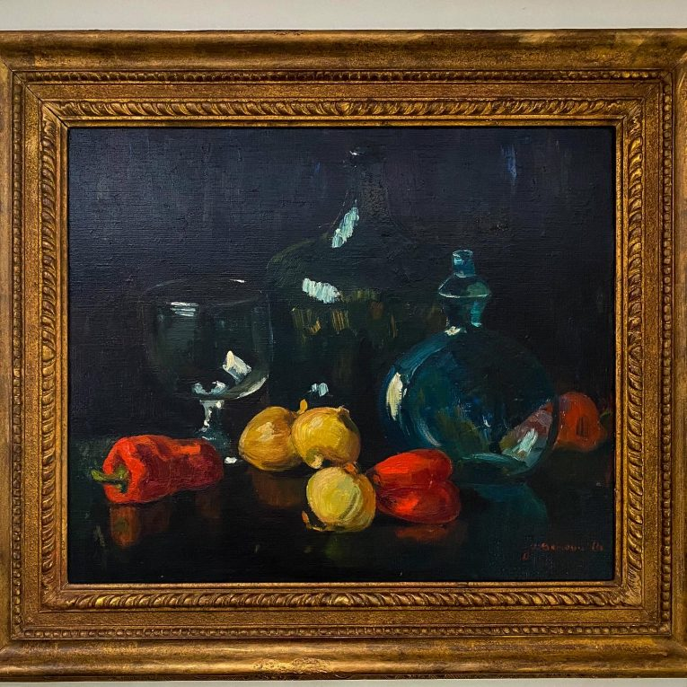 Натюрморт с овощами и стеклянной посудой Вид 3