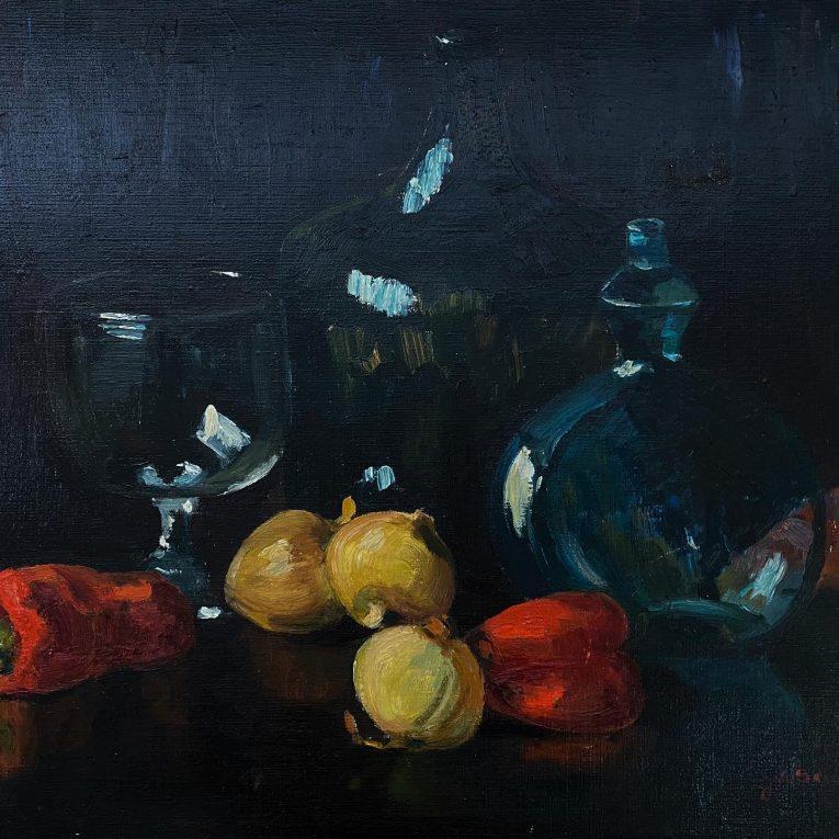 Натюрморт с овощами и стеклянной посудой Вид 1